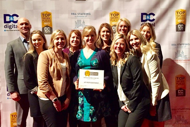 AP Professionals Rochester Team Members with Top Workplace Award