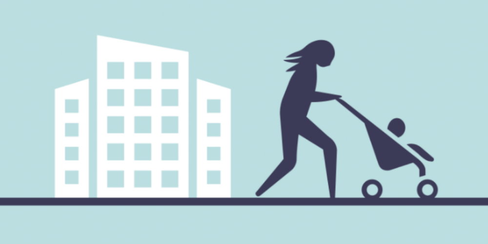 Clip art mother pushing stroller with baby in front of buildings