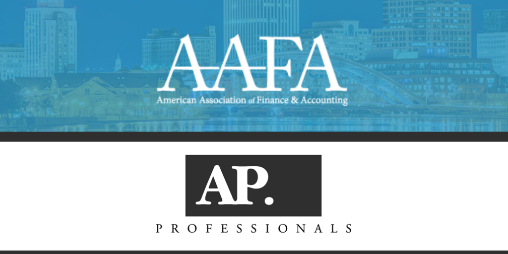 The American Association of Finance & Accounting logo over the AP Professionals logo