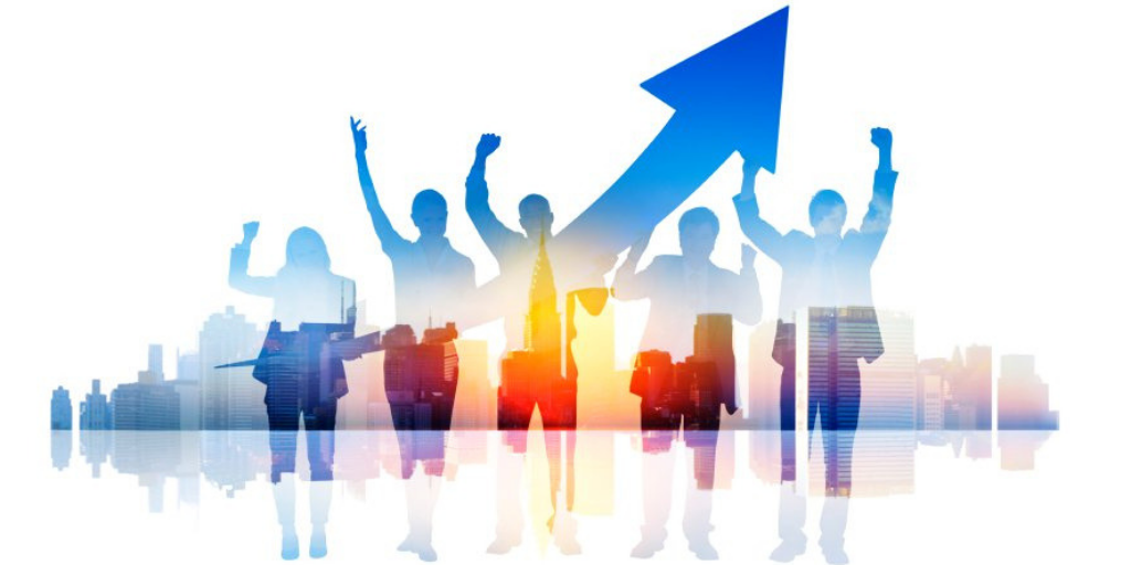 Silhouette of business professionals cheering with an arrow up indicating success